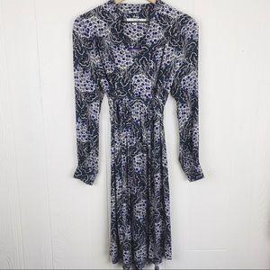 Boden Hydrangea Floral Tie Waist Dress